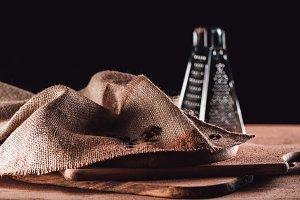closeup image of sackcloth, grater a