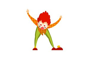 Cute clown cartoon character