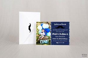 Birthday Invitation Card Little Man