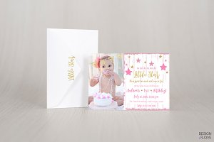 Birthday Invitation Card Little Star