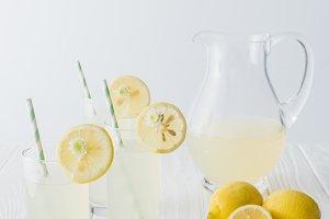 close up view of lemonade in jug and