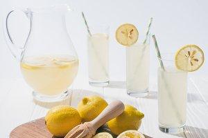 close up view of lemonade in glasses