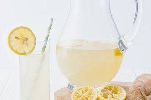 close up view of lemonade in glass w