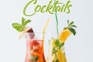 close up view of summer fresh cockta