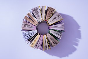 top view of stack of books in circle