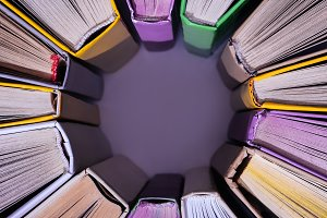 top view of stack of colored books i