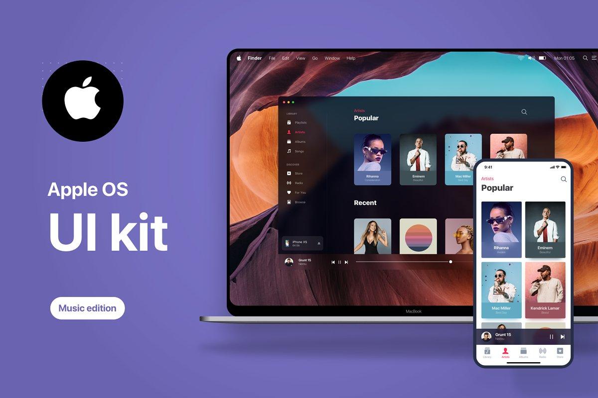 Apple OS Future UI Kit - Music ~ Product Mockups ~ Creative