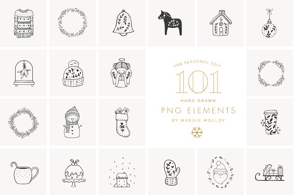 Illustrations and Illustration Products: Maggie Molloy - PNG 101 Festive Hand Drawn Elements