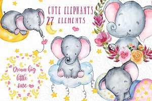 Cute baby Elephants clipart
