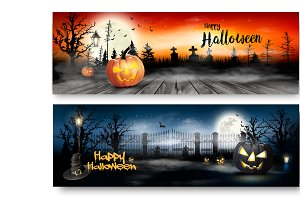 Two Halloween Spooky banners. Vector