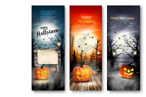 Set of Halloween Spooky banners.