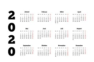 2020 year simple calendar on german