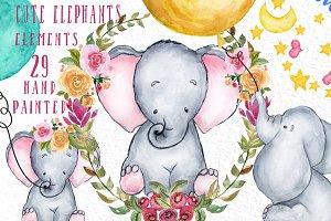 Cute baby elephants clipart