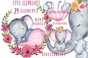 Watercolour cute elephants