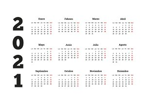 2021 year simple calendar in spanish