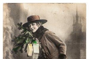 Young woman christmas tree gifts