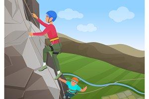 Two men climbing on big rock