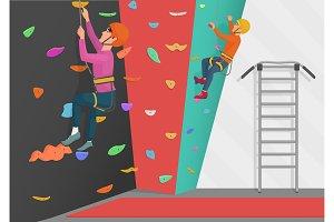 Men training on rock climbing wall.