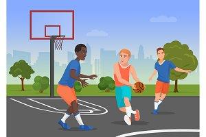 People playing basketball playground