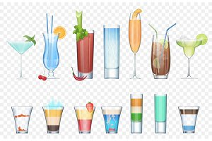 Realistic alcoholic cocktails set.
