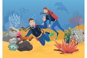 Scuba divers near ocean reef