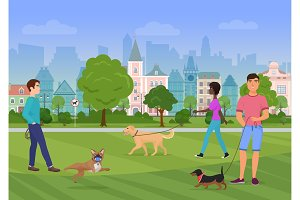 People walking with dogs in park