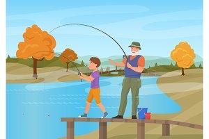 Senior man with boy fishing