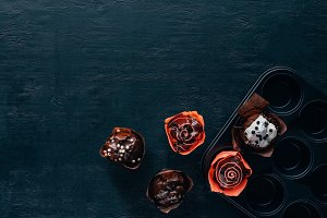 top view of delicious muffins with g