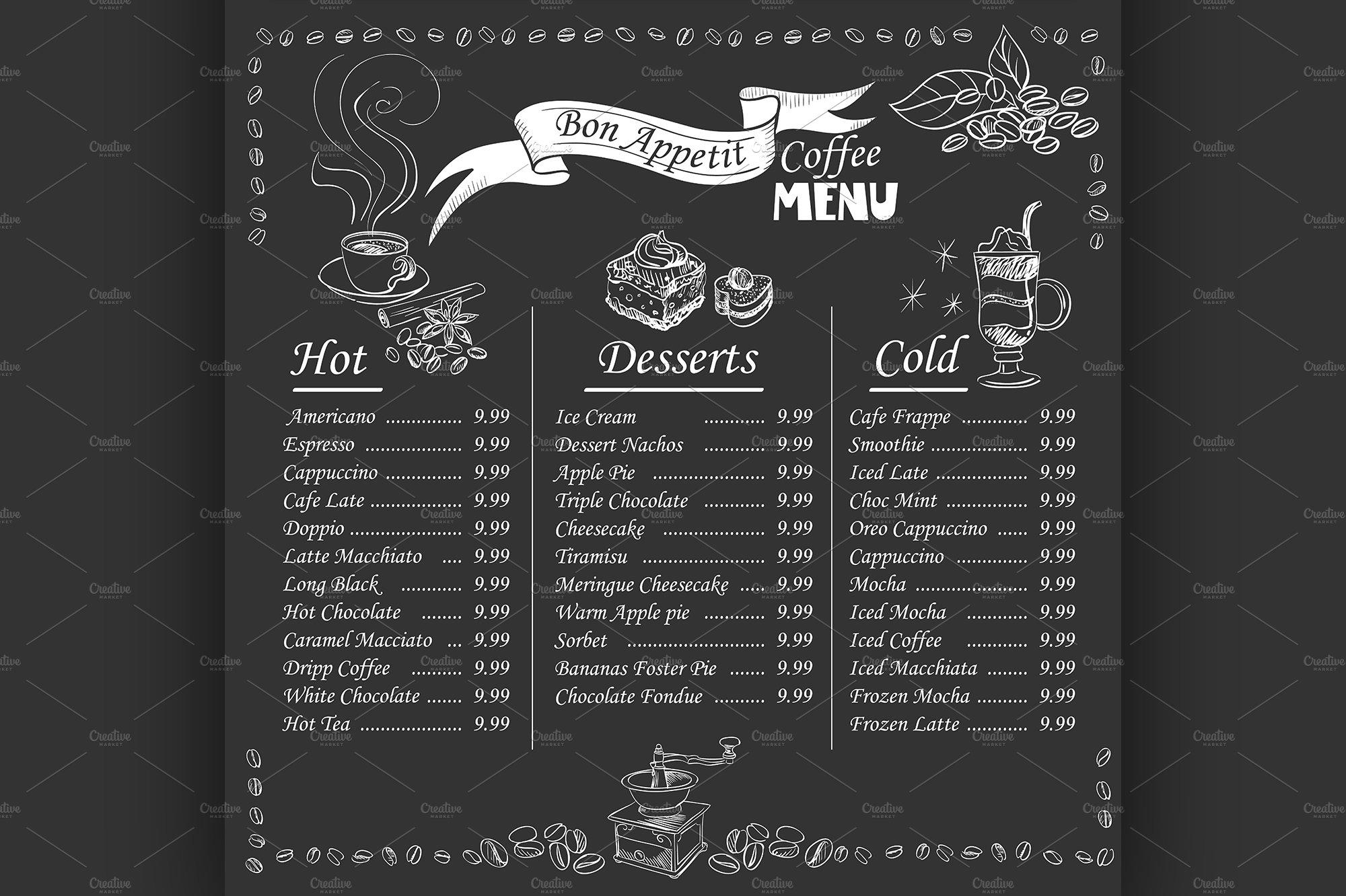 coffee menu on chalkboard illustrations creative market