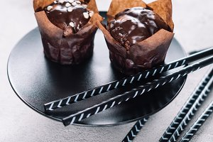 Sweet cupcakes with chocolate chips