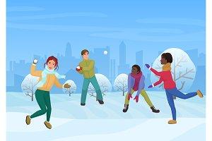 Friends playing snowballs