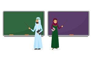 Arab man and woman teacher
