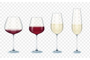 Transparent vector wine glasses.
