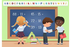 Pupils in classroom near chalkboard