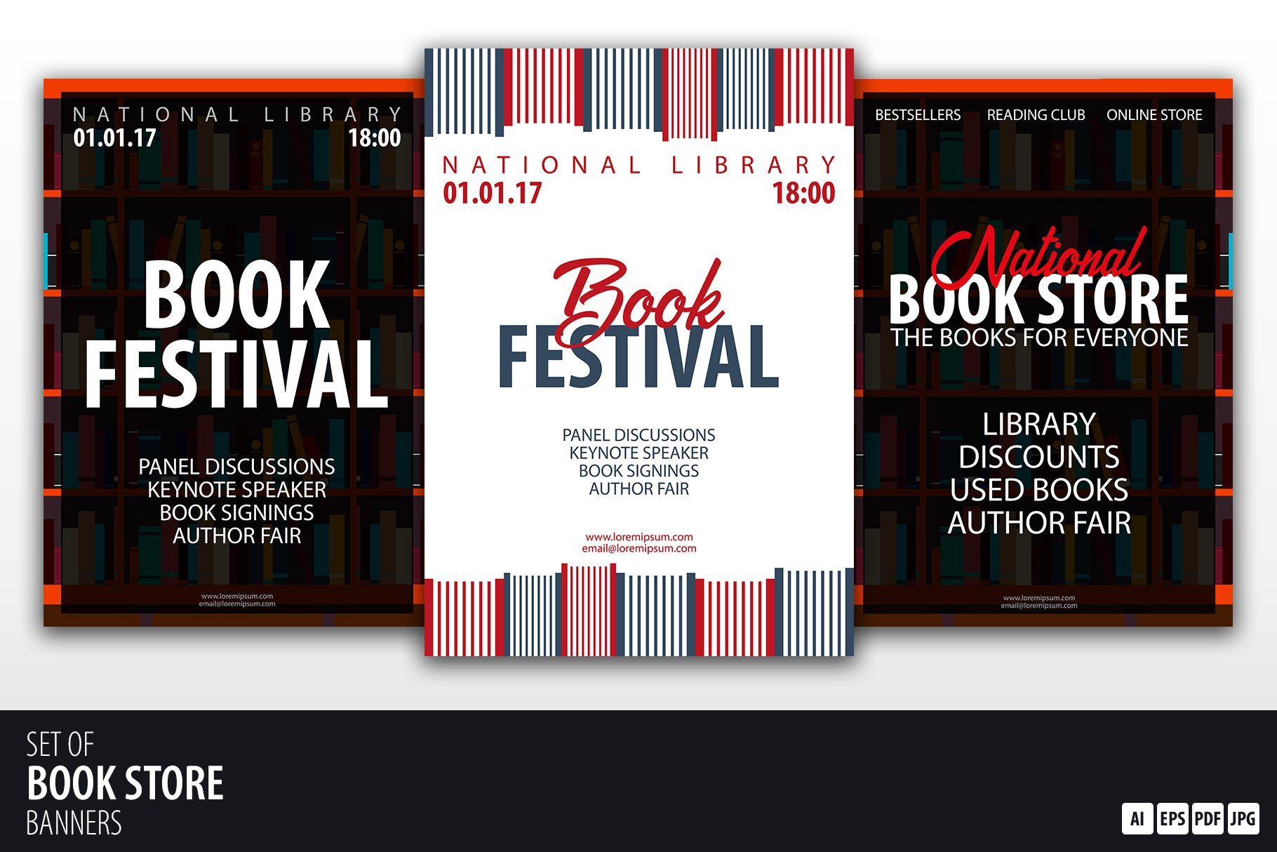 Book Store And Festival Banners Flyer Templates Creative Market