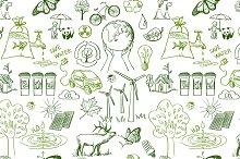 Ecology signs seamless pattern