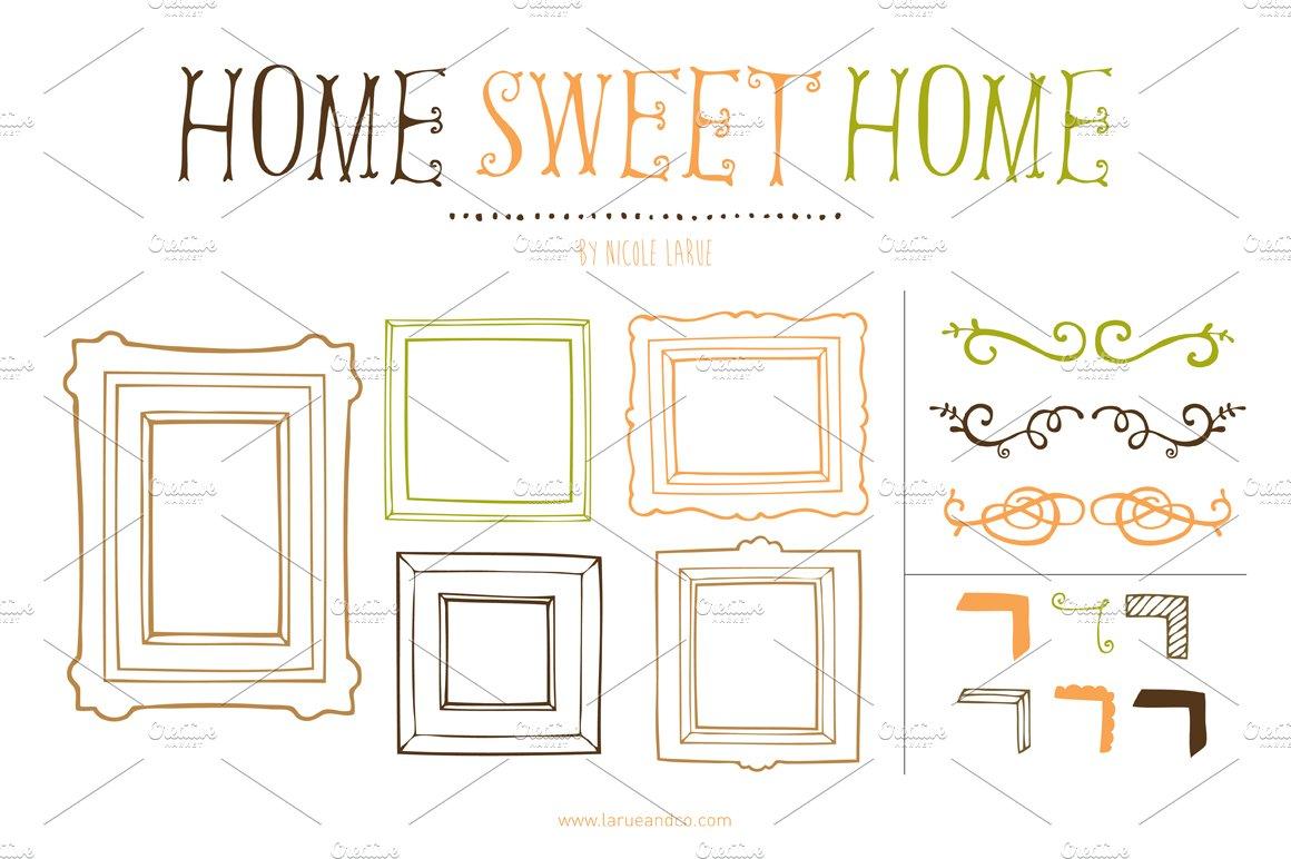 home sweet home clipart illustrations creative market. Black Bedroom Furniture Sets. Home Design Ideas