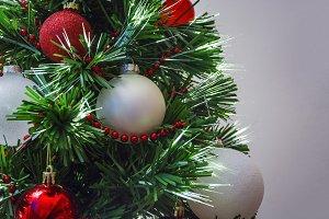 Close up of christmas tree decoratio