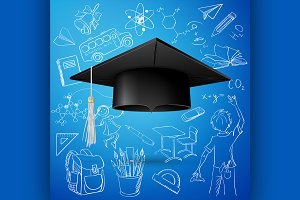 Graduation Cap and hand draw icon