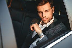 Portrait of serious businessman wear