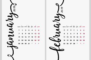 Calendar 2019 Design Vector Set.