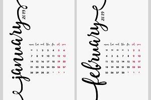 Calendar 2019 Design Vector Set.