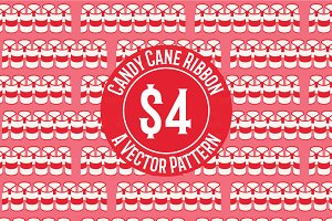 Candy Cane Ribbon Repeat Pattern