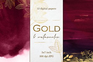 Gold and Watercolor digital papers