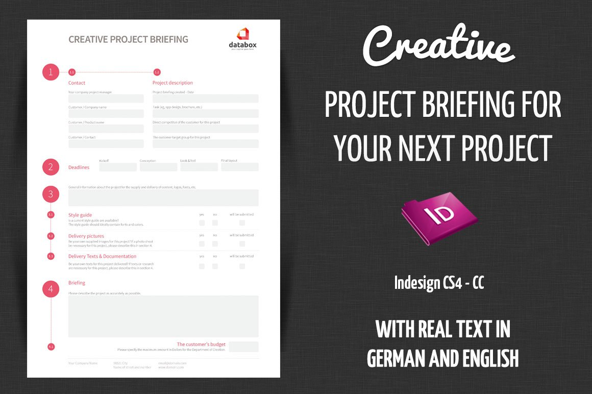 Creative Project Briefing Stationery Templates