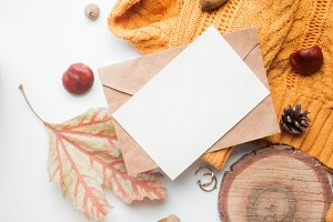 fall mockup card with autumn leaves