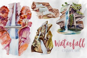 Watercolor Waterfall Clipart Set
