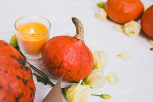 Pumpkins,candle and flowers
