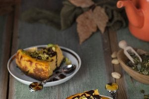 pumpkin cheesecake with pistachios