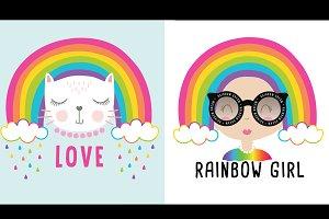 Rainbow girl and cat.Cartoon vector.